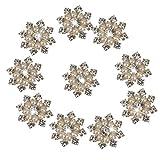 Beautiful Bead 10 pcs Faux Pearl Rhinestone Flatback Buttons Embellishments