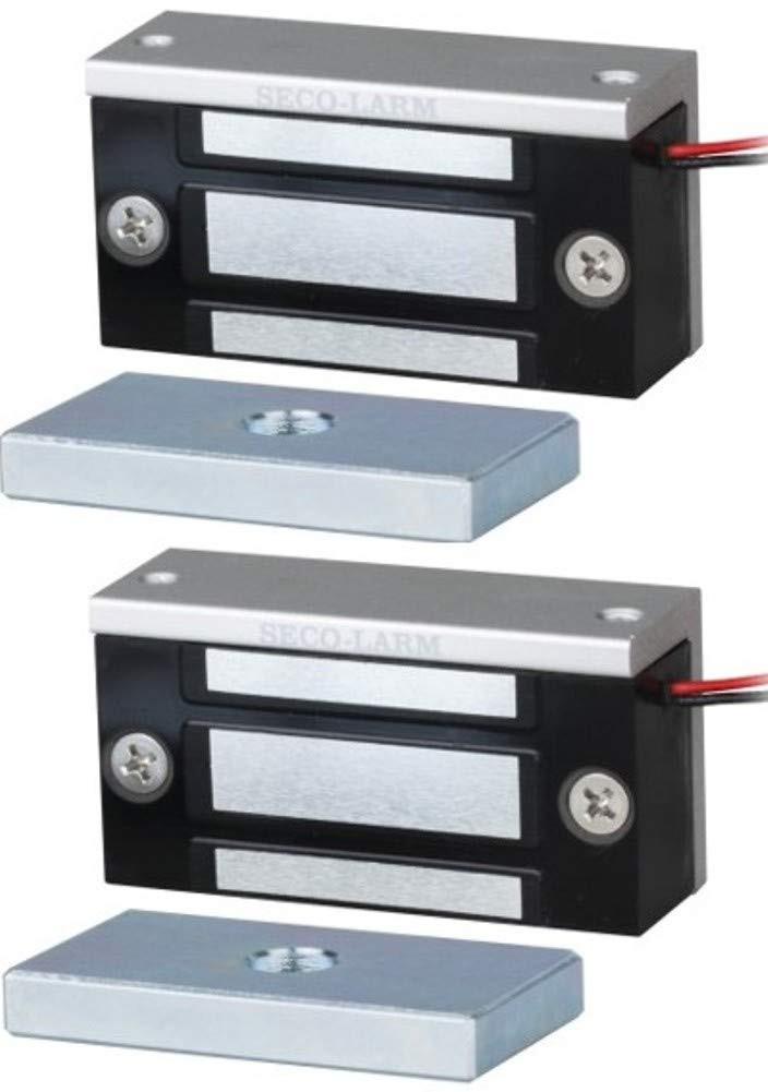 Seco-Larm E-941SA-80Q Single Door Mini Maglock (2 Pack), 80~110-lb (36~51kg) Holding Force, No Residual Magnetism, Detachable Mounting Bracket, MOV Surge Protection, 12~24VDC by Seco-Larm