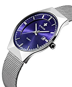 Blue Dial Watches for Men Waterproof Military Analog Quartz Wrist Watch Stainless Steel Quartz Watch with Calendar Silver Mesh Band