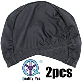 pur cap - QY 2Pack Superior Polyester Cloth Fabric Bathing Cap Swimming Caps Swimming Hats for Water Sports, Classic Pure Black Color