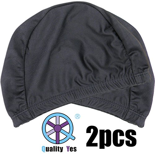 QY 2Pack Superior Polyester Cloth Fabric Bathing Cap Swimming Caps Swimming Hats for Water Sports, Classic Pure Black Color ()