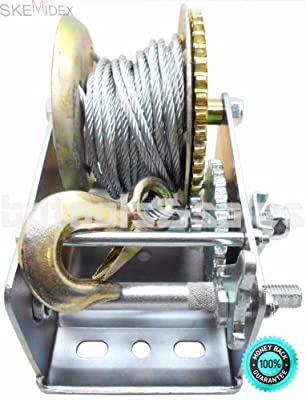 SKEMiDEX---3200lbs Dual Gear Hand Winch Hand Crank Manual Boat ATV RV Trailer 32ft Cable. Ideal for boat haulage or trailer mounting Conveniently drilled holes in base allow easy mouting