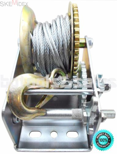 (SKEMiDEX---3200lbs Dual Gear Hand Winch Hand Crank Manual Boat ATV RV Trailer 32ft Cable. Ideal for boat haulage or trailer mounting Conveniently drilled holes in base allow easy mouting)