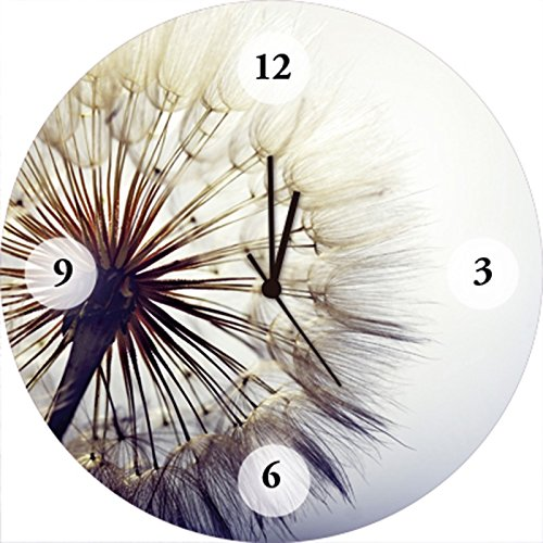 Artland Qualitätsuhren I Funk Wanduhr Designer Uhr Glas Funkuhr Größe: 35 Ø Blumen Pusteblume Blau G5RK