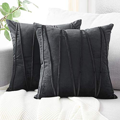 Top Finel Decorative Hand-Made Throw Pillow Covers Soft Particles Velvet Solid Cushion Covers 18 X 18 for Couch Bedroom Car, Pack of 2, Black (Ivory Black Pillows And Throw)