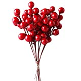 Red Berries, IFOYO 10 Pack Artificial Red Berry Stems for Christmas Tree Decorations, Crafts, Holiday and Home Decor, 7.28 Inches