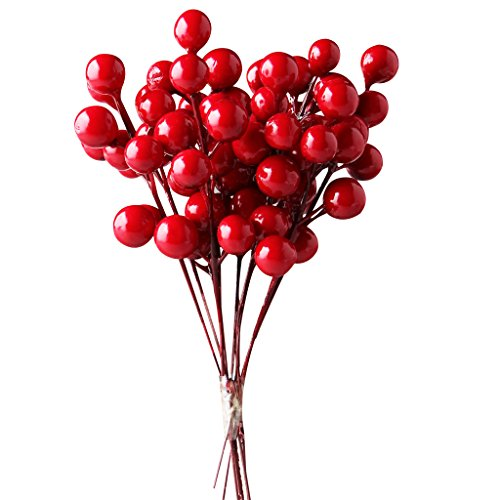 IFOYO Red Berries, 10 Artificial Red Berry Stems for Christmas Tree Decorations, Crafts, Holiday and Home Decor, 7.28 Inches ()