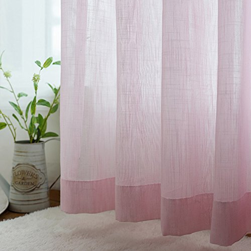 ASide BSide Lovely Style Sheer Curtains Rod Pocket Top Solid Color Elegant Knitting Home Decorations For Living Room Bedroom and Kids Room (1 Panel, W 52 x L 84 inch, Pink) by ASide BSide
