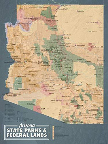 Best Maps Ever Arizona State Parks & Federal Lands Map 18x24 Poster (Camel & Slate Blue)