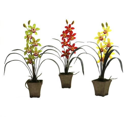 Nearly Natural 4066-AS-S3 Cymbidium Orchid with Vase, Green/Red/Yellow, Set of 3 (Orchids Cymbidium Silk Green)
