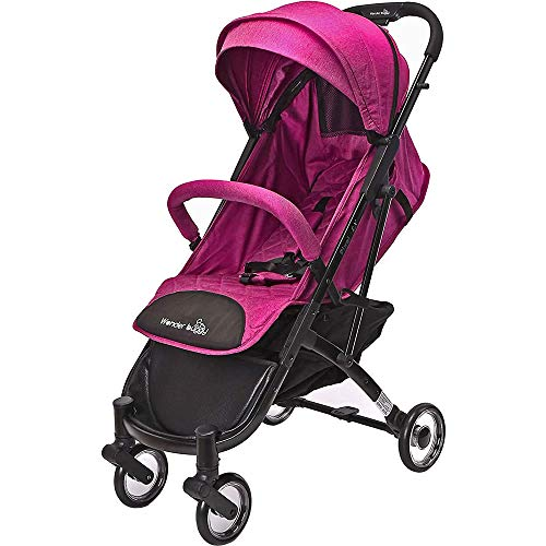 Pixel LX Portable Pocket Style Compact Travel Stroller, Lightweight & Compact, Fits in Airplane Overhead Bin, One Hand Fold, Perfect from Newborn to 48 lbs. (Fuchsia Pink)