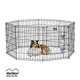 MidWest Foldable Metal Exercise Pen / Pet Playpen. Black w/ door, 24 W x 30 H Inch
