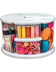"""Deflecto Rotating Carousel Craft Organizer, 9-Canister, Includes 3"""" and 6"""" Canisters, Removable, Clear, Lids"""