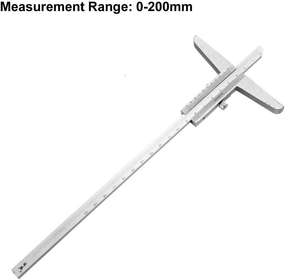 uxcell Depth Gauge Vernier Caliper 200mm X 0.02mm Carbon Steel Measuring Tool