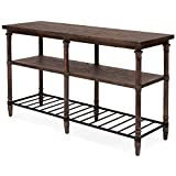 Rustic Transitional 54-inch Renate Wood, Metal Sofa Table in Coffee Brown with Rack , Add a Homey, Wholesome Look to Your Living Room or Entryway with This Sofa Table