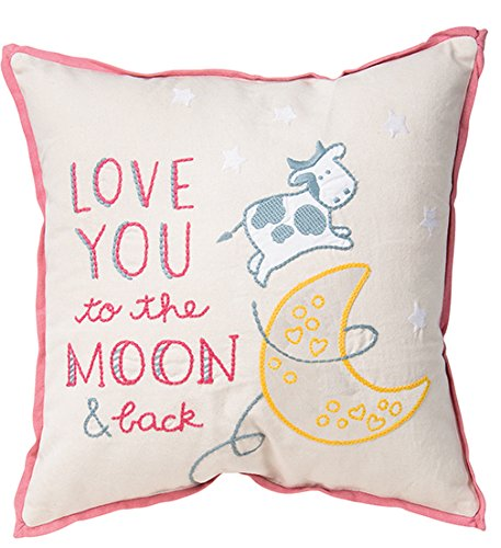 Primitives by Kathy Embroidered Moon and Back Throw Pillow, 15-Inch Square, (Cathy Pink Ribbon)