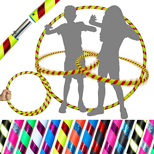 KIDs HULA HOOPS - Quality Weighted Childrens Hula Hoops! Great For Exercise, Dance, Fitness & FUN! NO Instructions needed! Same Day Dispatch! (UV Yellow / Red Glitter)