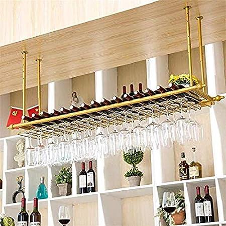 JBNJV Bar Pub Wine Rack Estantes flotantes con Soporte para Copas - Nórdico para Colgar en la Pared Hierro Copas de Vino y Botellas Organizadores de gabinetes Almacenamiento (Tamaño: 80 cm / 31,5