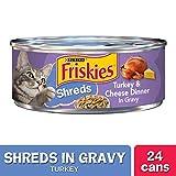 Purina Friskies Gravy Wet Cat Food - Shreds Turkey & Cheese Dinner - (24) 5.5 oz. Cans