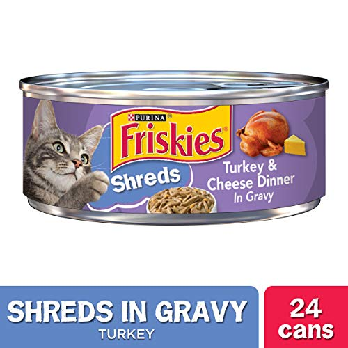 Purina Friskies Gravy Wet Cat Food, Shreds Turkey & Cheese Dinner - (24) 5.5 oz. Cans (To Shred Food Like Cheese Into Small Pieces)