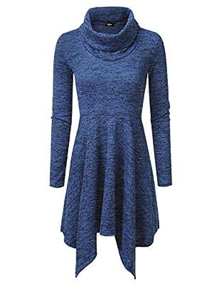 NINEXIS Women's Cozy Cowl Neck Sweater Flowy Dress S-3XL (10 Colors)