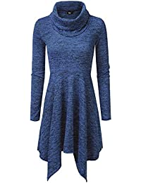 Womens Cowl Neck Long Sleeve Flowy Sweater Dress