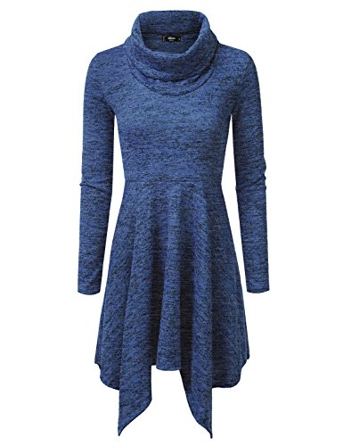 NINEXIS Womens Cowl Neck Long Sleeve Flowy Sweater Dress RoyalBlue L