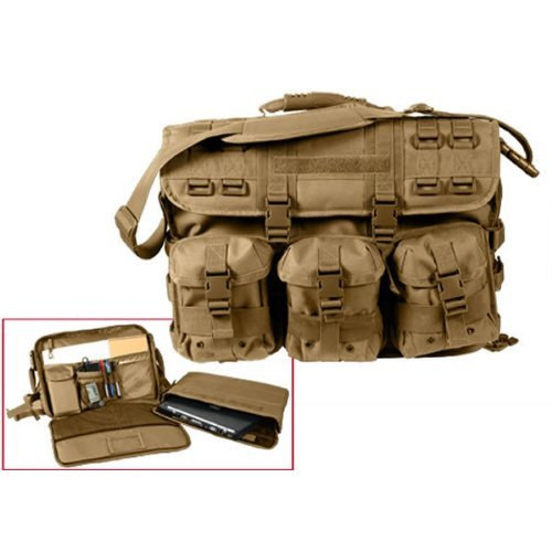 Coyote Tan Military Advanced Tactical Molle Laptop Computer Bag Attache Case (17x12x4.5-6)