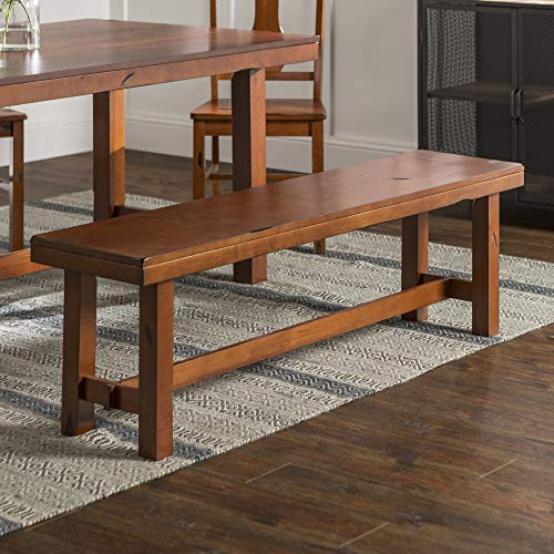 WE Furniture Rustic Farmhouse Wood Distressed Dining Room Kitchen Bench, Brown Oak