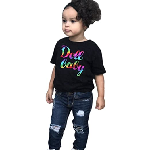 13196db1f XEDUO 2Pcs Toddler Baby Girls Boys Letter Tops+Denim Pants Outfits Clothes  Set (Black