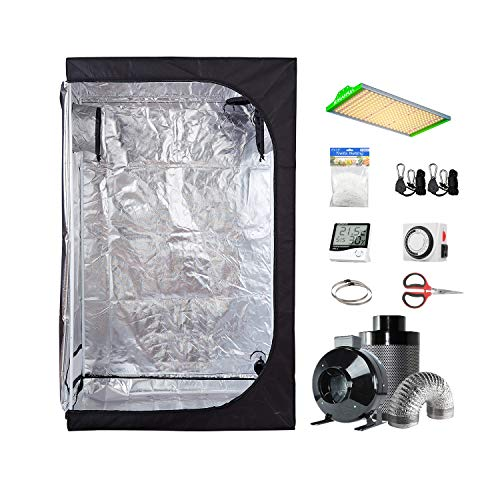 "BestMart Grow Tent Ventilation System 36""x20""x63"" Small Grow Tent Room+Full Spectrum LED Grow Lights 100W+4"" Fan…"