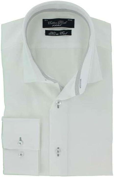 Cotton Park - Camisa de Vestir - Ajustada - Manga Larga - para Hombre Blanco Blanco: Amazon.es: Ropa y accesorios