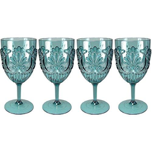 Le Cadeaux Classic Fleur Teal Blue 4 Piece Wine Glass Set ()