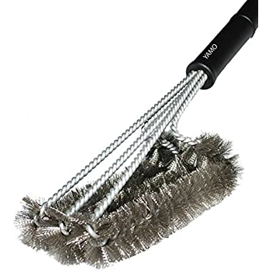 YAMO 18  BBQ Grill Brush 3 in 1 - Durable and Effective BBQ Cleaner Safe For All Grills - Barbecue Grill Brush Bristles Made of Stainless Steel Woven Wire - a Perfect Gift for All Barbecue Lovers