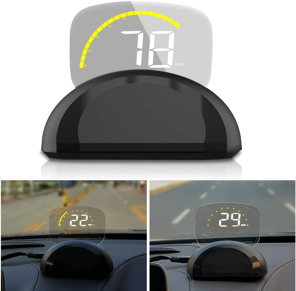 Car Head Up Display, iKiKin HUD Display Car OBD2 GPS Dual Mode Foldable Dashboard Projector of Speedometer Engine RPM Water Temperature Alert
