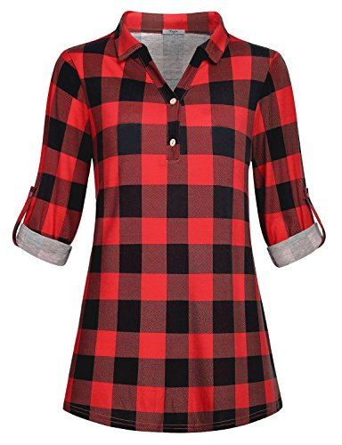 Patterned Knit Tunic (Cestyle Red Plaid Shirt Women Tunics, Ladies Patterned Tops Soft Knit Button Lapel Neck Tunic Petite Fit Flared Shirttail Maternity Clothing House Wear Daily Red M)