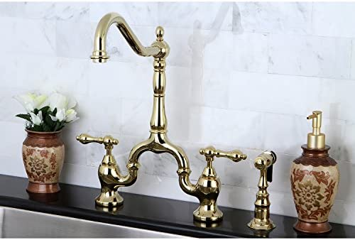 Kingston Brass KS7752ALBS English Country Kitchen Faucet with Brass Sprayer, Polished Brass