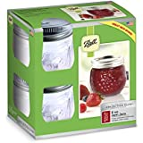 Ball Jelly Elite Collection Jam Jar (4 Pack), 8 oz, Clear