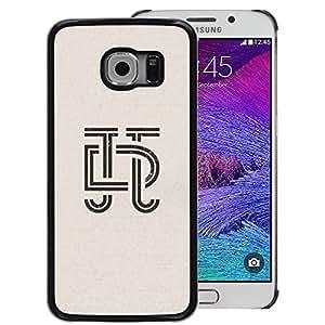 A-type Arte & diseño plástico duro Fundas Cover Cubre Hard Case Cover para Samsung Galaxy S6 EDGE (NOT S6) (Art Deco Letters Calligraphy Design Insignia)