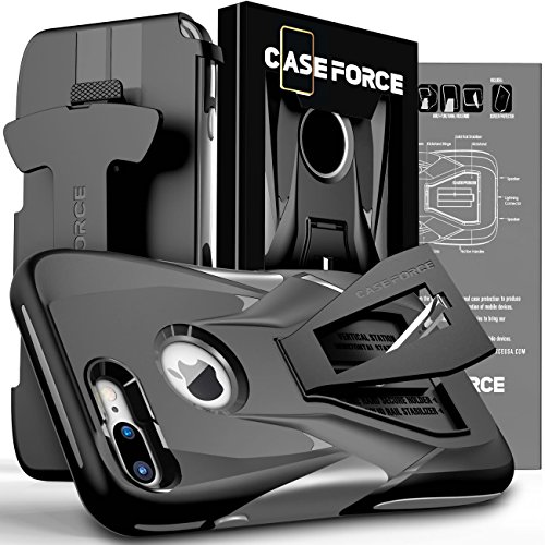 CASE FORCE Cell Phone Case Compatible With iPhone 8 Plus/7 Plus [Velocity Series] for Girls Women Men, Kickstand Heavy Duty Military Grade Drop Protection Holster with Belt Clip (Steel Black/Gray)