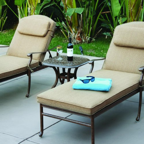 Darlee Sedona 3 Piece Cast Aluminum Patio Chaise Lounge Set - Mocha