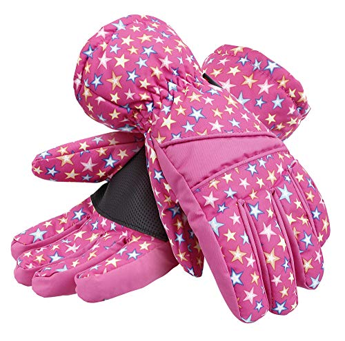 Kids Waterproof Snowboard Gloves Thinsulate Lined Ski Gloves for Girls,Pink, S