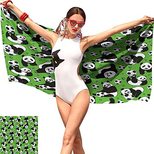 Soccer Girls Beach Towel,Funny Panda Animals Playing with