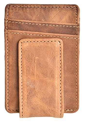 Mens Money Clip Wallet RFID Slim Wallet Genuine Leather Thin Front Pocket Wallet