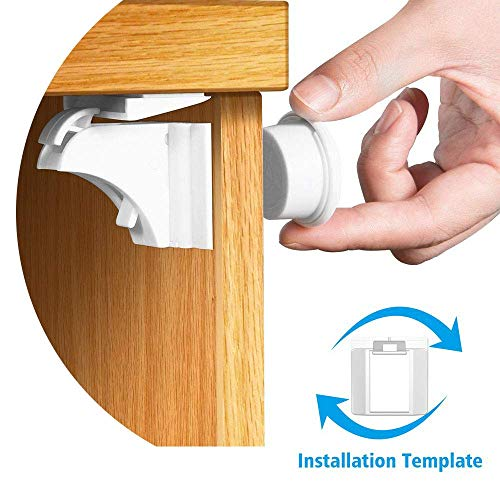 BENGOO Updated Baby Safety Magnetic Cabinet Locks - Key with Locking Template Child Proof Locks Adhesive No Drill, Tools for Kitchen Drawers, Cabinets, Closets