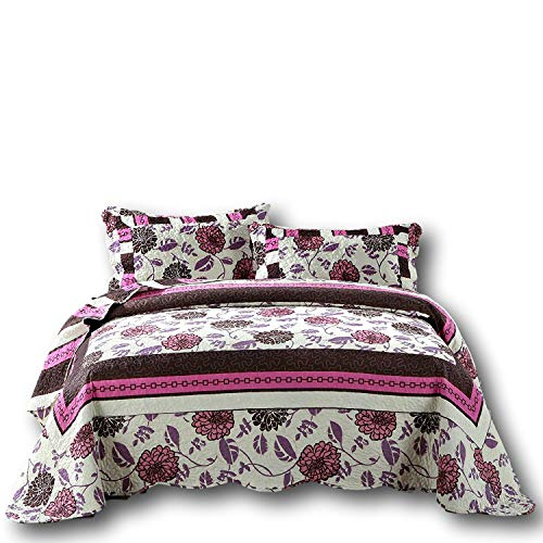 DaDa Bedding Bohemian Bedspread Set - Chrysanthemum Vines Reversible Quilted Coverlet - Bordered Bright Vibrant Floral Colorful - Hot Pink White Purple Brown - Cal King - 3-Pieces