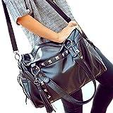 Search : Catkit Womens Punk Style Tassels Rivet Tote Bag Shoulder Messenger Handbag Black