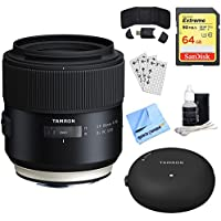 Tamron SP 85mm f1.8 Di VC USD Lens for Canon Full-Frame EF Cameras (AFF016C-700) + Accessory Bundle Includes, TAP-In Console Lens Accessory, 64GB Memory Card, Card Reader, Card Wallet & More