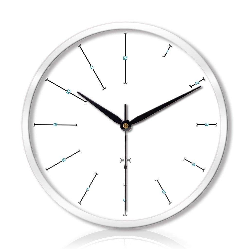 時計リビングルームベッドルームクリエイティブメタルウォールクロックウォールクロックサイレントスキャン3世代のスマートウェーブウォールクロック LCS (色 : 白, サイズ さいず : 14 inches) B07FC82JCJ 14 inches|白 白 14 inches
