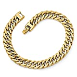 Solid 14k Yellow Gold Big Heavy Polished Men's Bracelet - with Secure Lobster Lock Clasp (9mm)